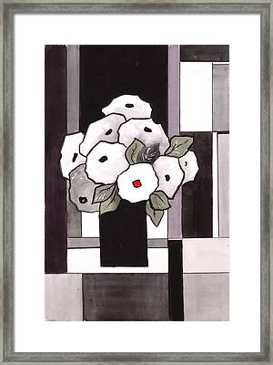 Black And White Funny Flowers Framed Print by Carrie Allbritton