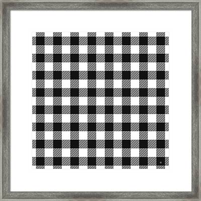 Black And White Gingham Small- Art By Linda Woods Framed Print