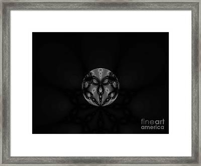 Black And White Globe Fractal Framed Print