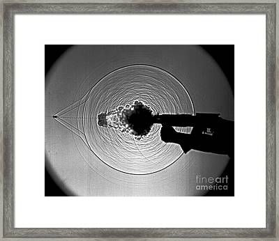 Black And White Gun Firing Shadowgram Framed Print by Garry S Settles and Photo Researchers