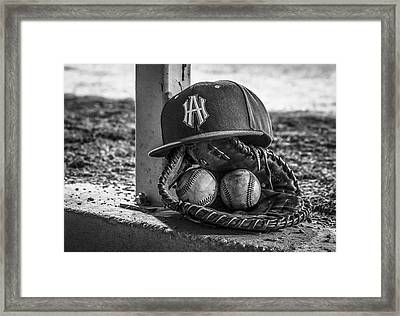 Black And White Ha Baseball Hat With Mitt And Balls Framed Print by Jeremy Raines