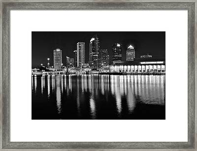 Black And White Harbor In Tampa Bay Framed Print