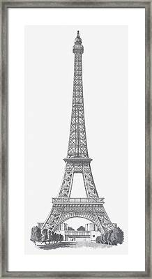 Black And White Illustration Of Eiffel Tower Framed Print