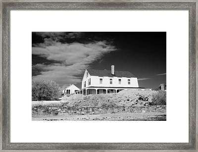 Black And White Image Of A House In New England In Infrared Framed Print by David Thompson