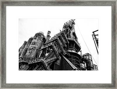 Black And White Industrial - Bethlehem Steel Framed Print by Bill Cannon