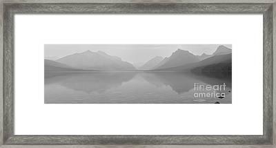 Black And White Lake Mcdonald Sunset Framed Print