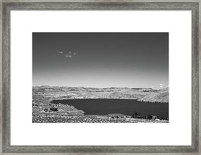 Black And White Landscape Photo Of Dry Glacia Ancian Rock Desert Framed Print