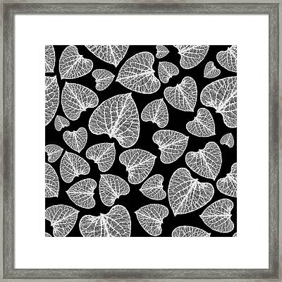 Black And White Leaf Abstract Framed Print