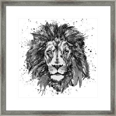 Black And White Lion Head  Framed Print by Marian Voicu