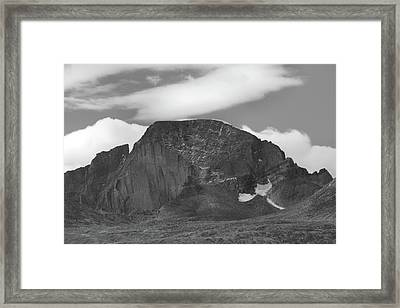 Framed Print featuring the photograph Black And White Longs Peak Detail by Dan Sproul