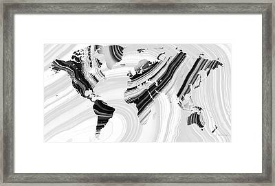 Black And White Marbled World Map - Sharon Cummings Framed Print by Sharon Cummings