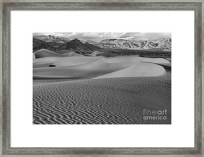 Black And White Mesquite Sand Dunes Framed Print by Adam Jewell