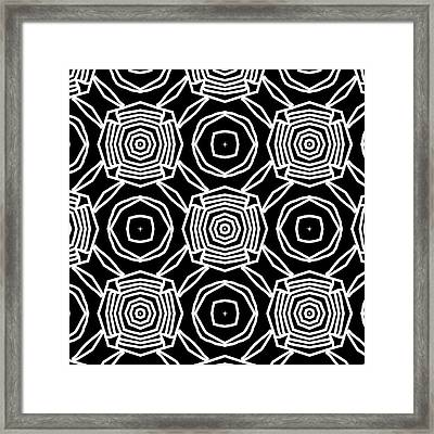 Black And White Modern Roses- Pattern Art By Linda Woods Framed Print