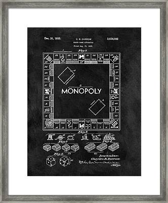 Black And White Monopoly Game Patent Framed Print by Dan Sproul