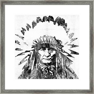 Black And White Native American Chief Framed Print by Sharon Cummings