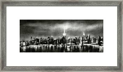 Black And White New York Skyline Night Framed Print