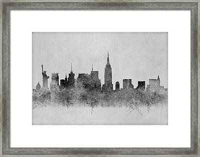 Framed Print featuring the digital art Black And White New York Skylines Splashes And Reflections by Georgeta Blanaru