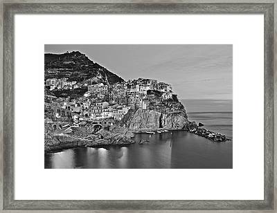 Black And White Night For Manarola Framed Print by Frozen in Time Fine Art Photography