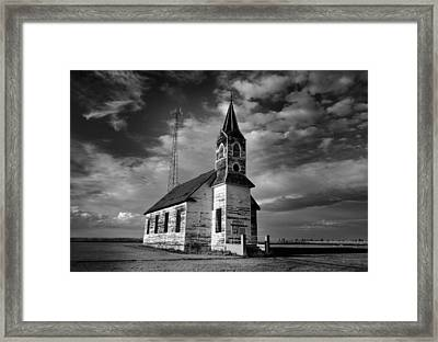 Black And White Of An Old Church In Front Of A Radio Tower   Framed Print