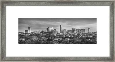 Black And White Of The Austin, Texas Skyline 1 Framed Print by Rob Greebon
