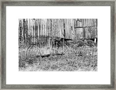 Black And White Old Barn In Maine Framed Print by Keith Webber Jr