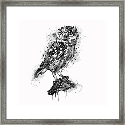 Framed Print featuring the mixed media Black And White Owl by Marian Voicu