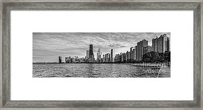 Black And White Panorama Of Chicago From North Avenue Beach Lincoln Park - Chicago Illinois Framed Print by Silvio Ligutti