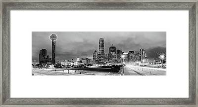 Black And White Panorama Of Downtown Dallas Skyline From South Houston Street - Dallas North Texas Framed Print