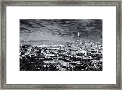 Black And White Panorama Of San Francisco Skyline And Oakland Bay Bridge From Ina Coolbrith Park  Framed Print