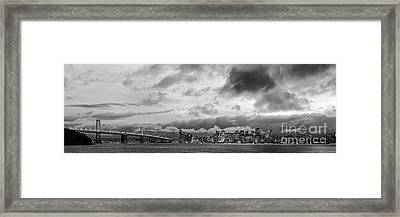 Black And White Panorama Of San Francisco Skyline And Oakland Bay Bridge From Treasure Island  Framed Print