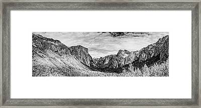 Black And White Panorama Of Yosemite Valley From Tunnel View Scenic Overlook - Sierra Nevada Framed Print