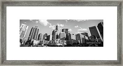 Black And White Panorama Photo Of Charlotte Skyline Framed Print by Paul Velgos