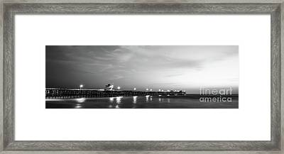 Black And White Panorama Photo Of San Clemente Pier Framed Print