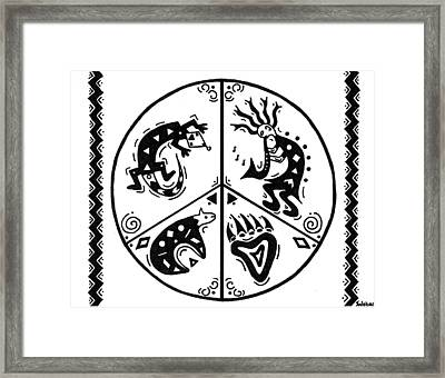 Black And White Peace And Love Framed Print