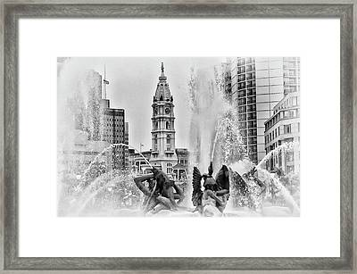 Black And White Philadelphia - City Hall And Swann Fountain Framed Print by Bill Cannon