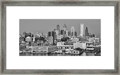 Black And White Philadelphia - Delaware River Framed Print