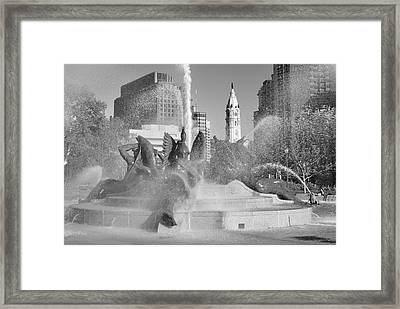 Black And White Philadelphia - Logan Circle Water Fountain  Framed Print by Bill Cannon
