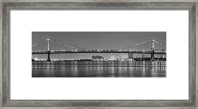 Black And White Philadelphia Panorama - Benjamin Franklin Bridge Framed Print