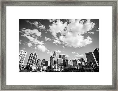 Black And White Photo Of Charlotte Skyline Framed Print by Paul Velgos