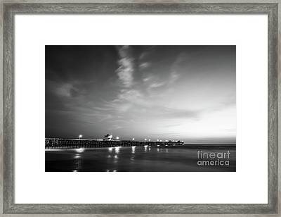 Black And White Photo Of San Clemente Pier Framed Print
