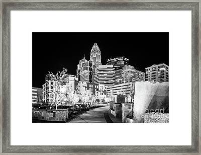 Black And White Photo Of The Charlotte Skyline Framed Print by Paul Velgos