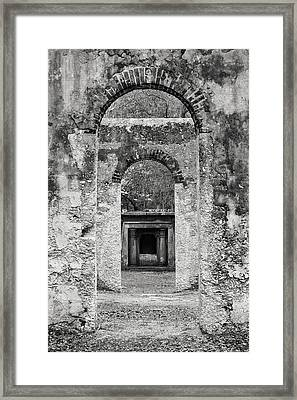 Black And White Photograph Beaufort Historic Church - Chapel Of The Ease Framed Print by Bill Swindaman