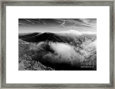 Black And White Photograph Of Fog Rising In The Marin Headlands - Sausalito Marin County California Framed Print