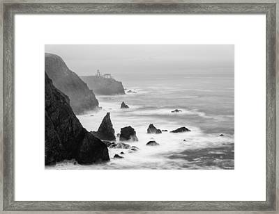 Black And White Photograph Of Point Bonita Lighthouse - Marin Headlands San Francisco California Framed Print