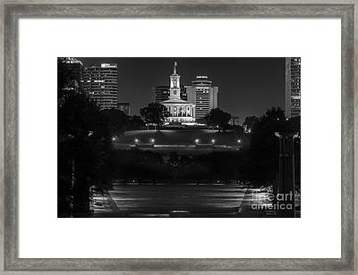 Black And White Photography Print Of The State Capital Building Of Nashville Tennessee At Night  Framed Print