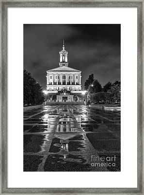 Black And White Photography Print Of The State Capital Building Of Nashville Tennessee Framed Print