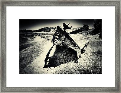 Black And White Photography Shipwreck Pinhole Framed Print by Dapixara Art