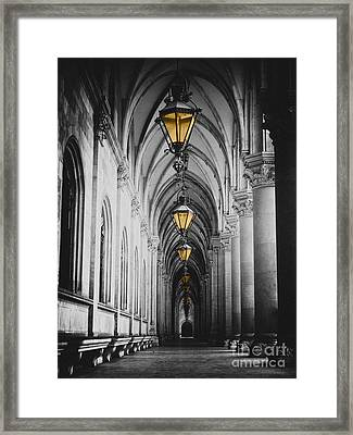Black And White Picture Of City Hall Corridor With Lanterns And Pillars In Vienna Rathaus Framed Print by Mirko Dabic
