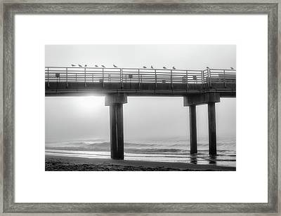 Framed Print featuring the photograph Black And White Pier Alabama  by John McGraw
