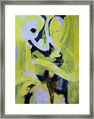Black And White Plus Yellow Framed Print